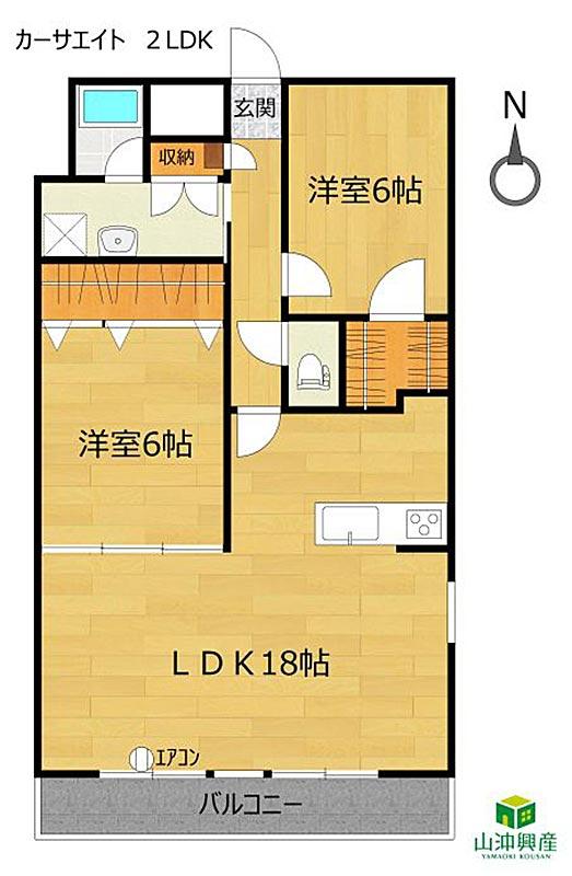 カーサエイト2LDKの室内図