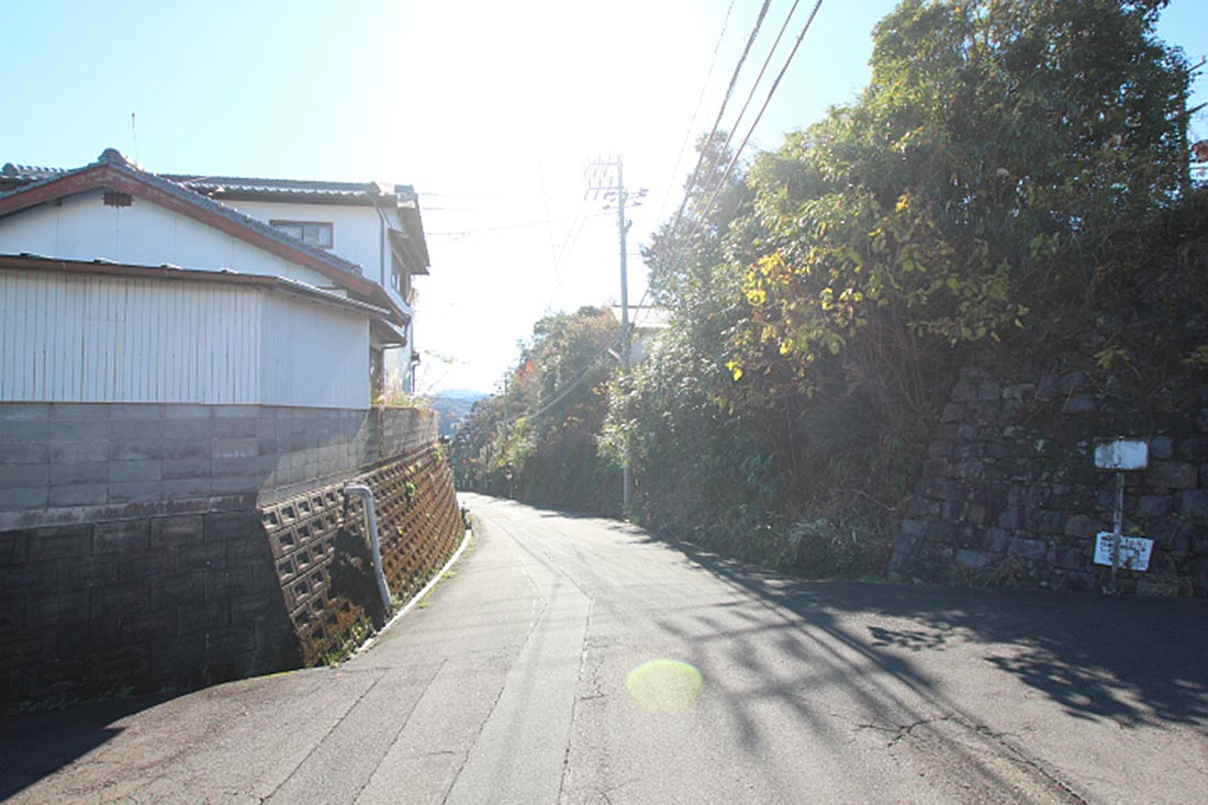 東側道路の様子(右側が売地)